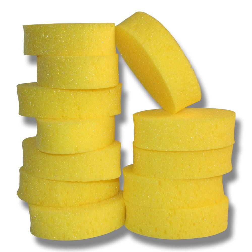 Oval horse care sponge, yellow