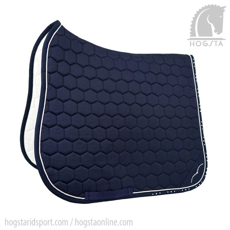 Marinblått dressyrschabrak med smal passpoal av strasstenar från Animo Hogsta Ridsport.