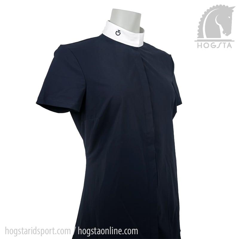 Marinblå kortärmad tävlingsskjorta från Cavalleria Toscana Hogsta Ridsport.