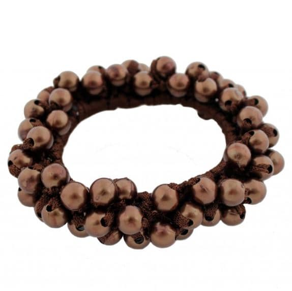 Hair tie with pearls - brown