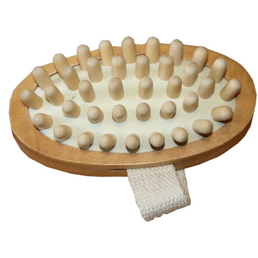 Massage brush with wooden pins