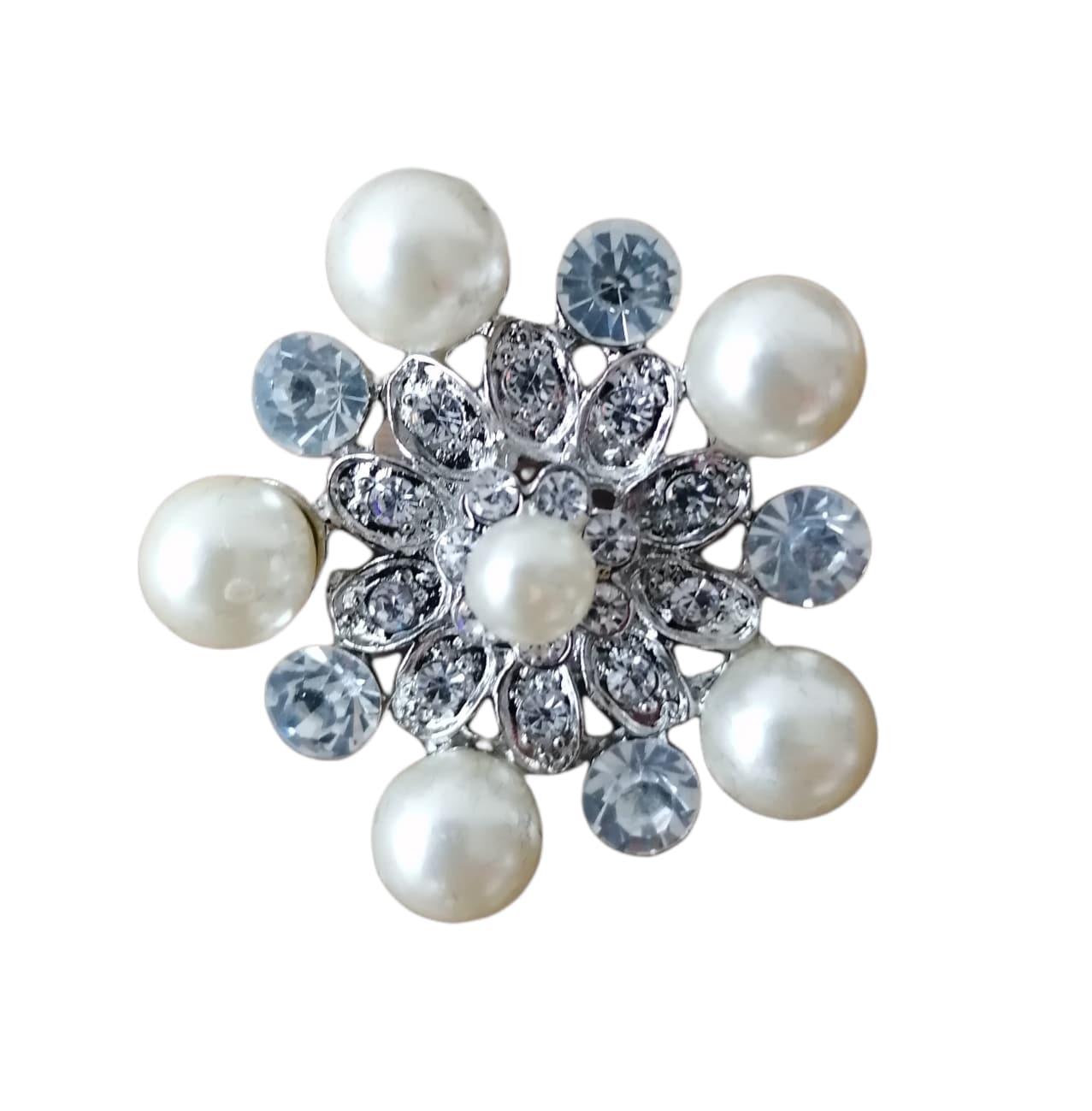 Plastrongnål med pärlor och kristall 40 mm