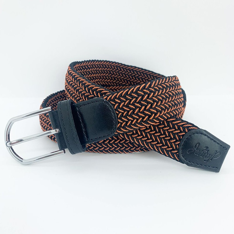 Orange-svart elastiskt skärp med svarta läderdetaljer från Jenny P. Hogsta Ridsport.