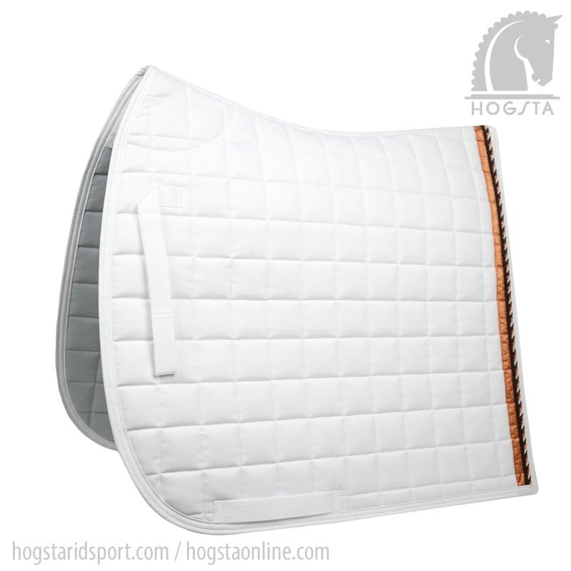 Vitt dressyrschabrak med passpoal i vitt svart och koppar från Mias Hogsta Ridsport.