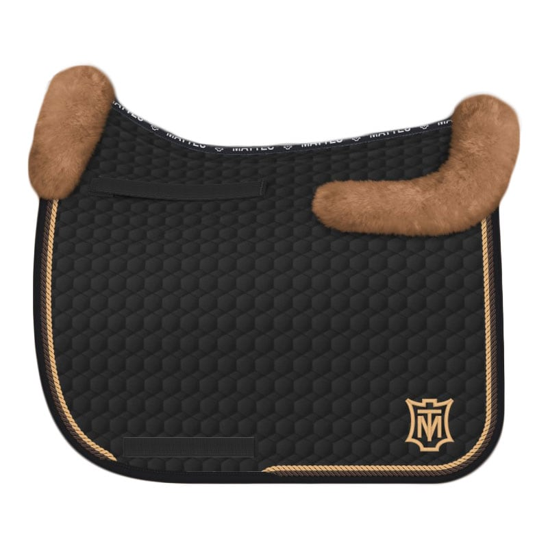 EA Mattes Sheepskin Dressage Saddle Pad - Black/Honey Logo