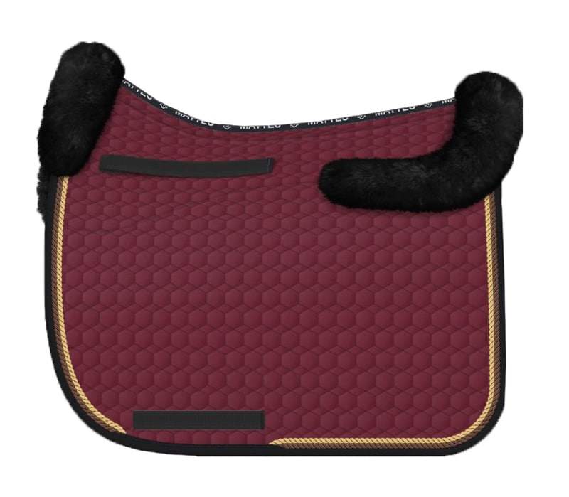 Sheepskin Dressage saddle pad - Burgundy/Black