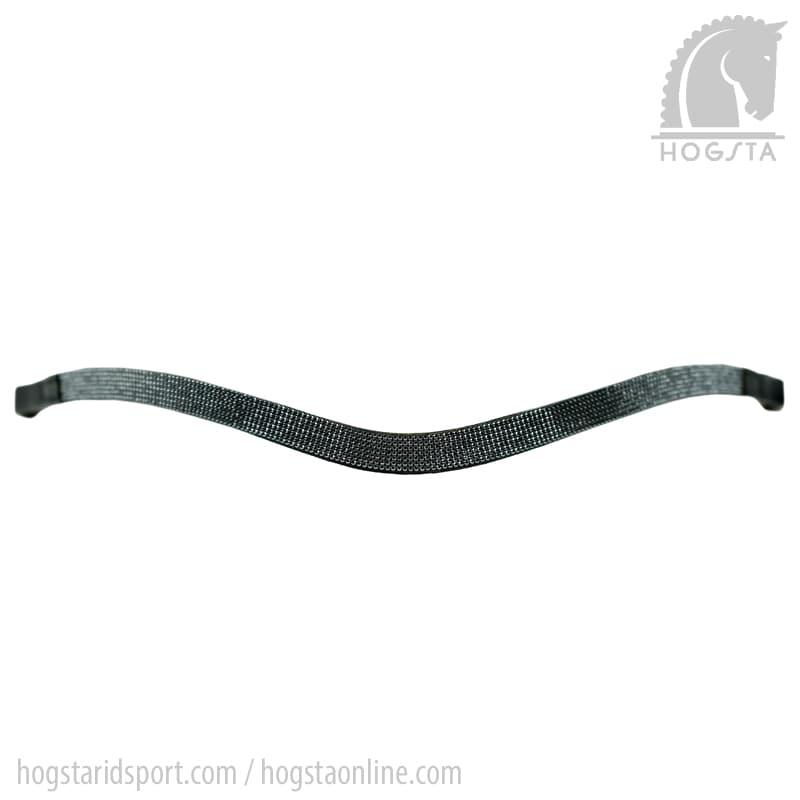 Svart bågformat läderpannband med små hematitfärgade Sw.kristaller från Otto Schumacher Hogsta Ridsport.