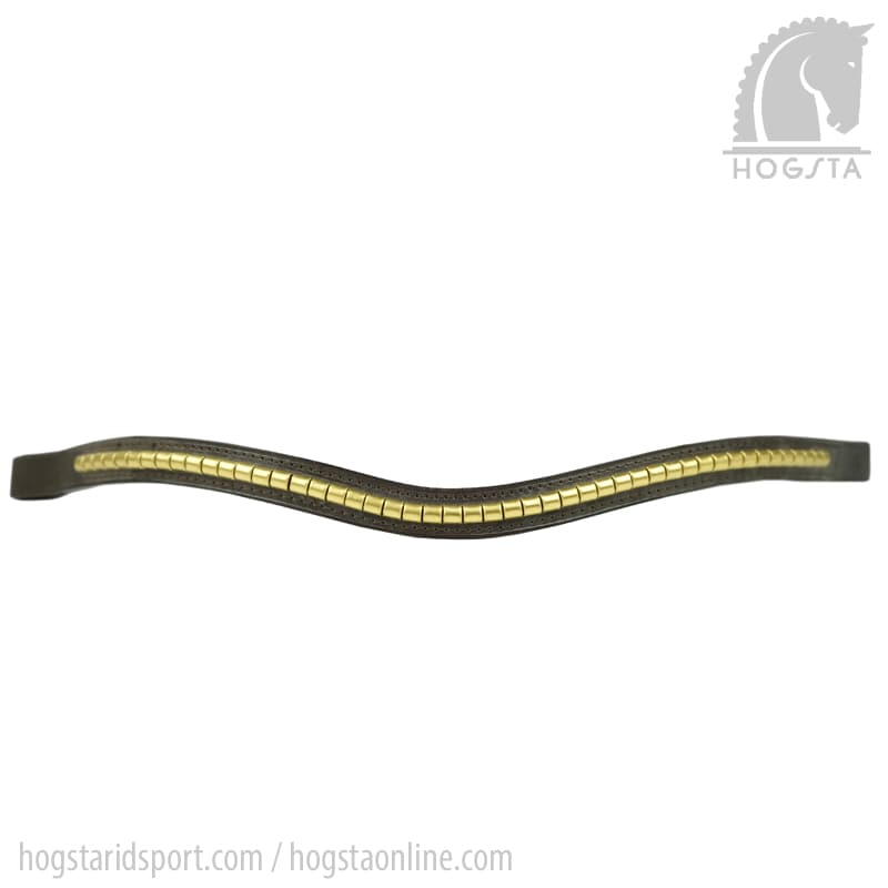 Brunt bågformat läderpannband med mässingsklinker från Otto Schumacher Hogsta Ridsport.