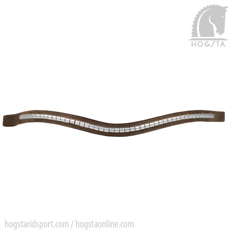 Brunt bågformat läderpannband med silverklinker från Otto Schumacher Hogsta Ridsport.