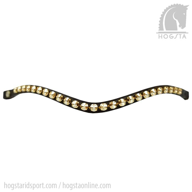 Bågformat läderpannband Rivoli med guldtonade Sw.kristaller från Otto Schumacher Hogsta Ridsport.
