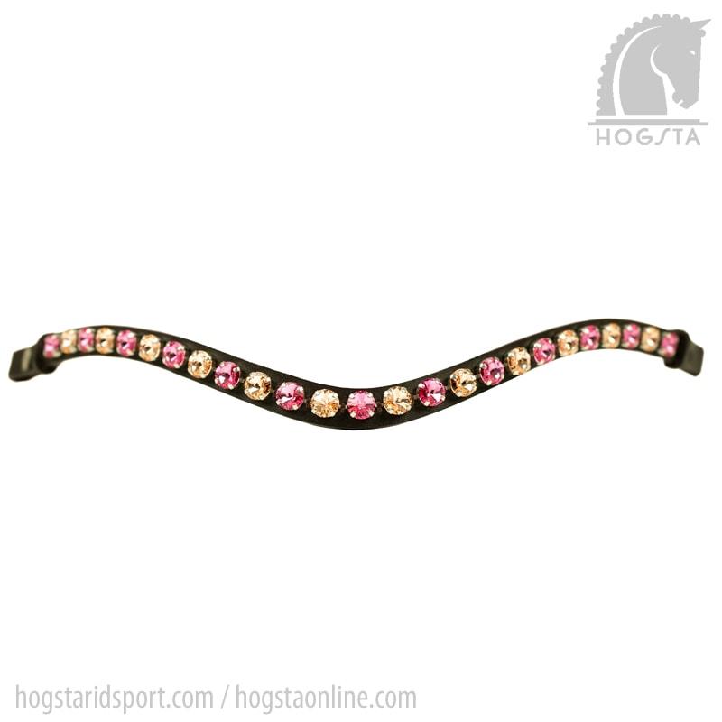 Mörkbrunt bågformat läderpannband Rivoli med Sw.kristaller i gult och rosa från Otto Schumacher Hogsta Ridsport.