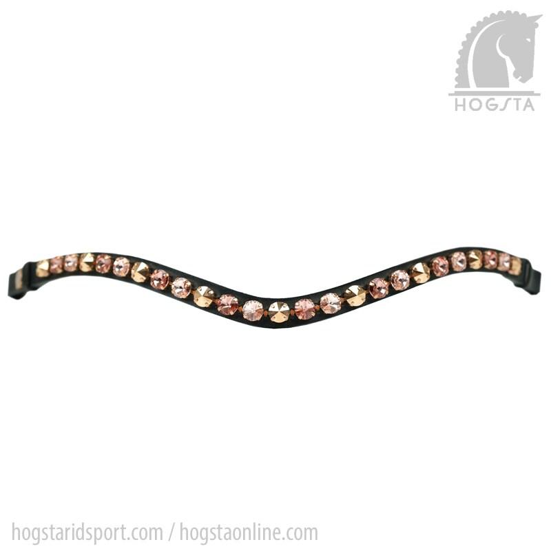 Svart bågformat läderpannband Rivoli med Sw.kristaller Rose/Gold från Otto Schumacher Hogsta Ridsport.