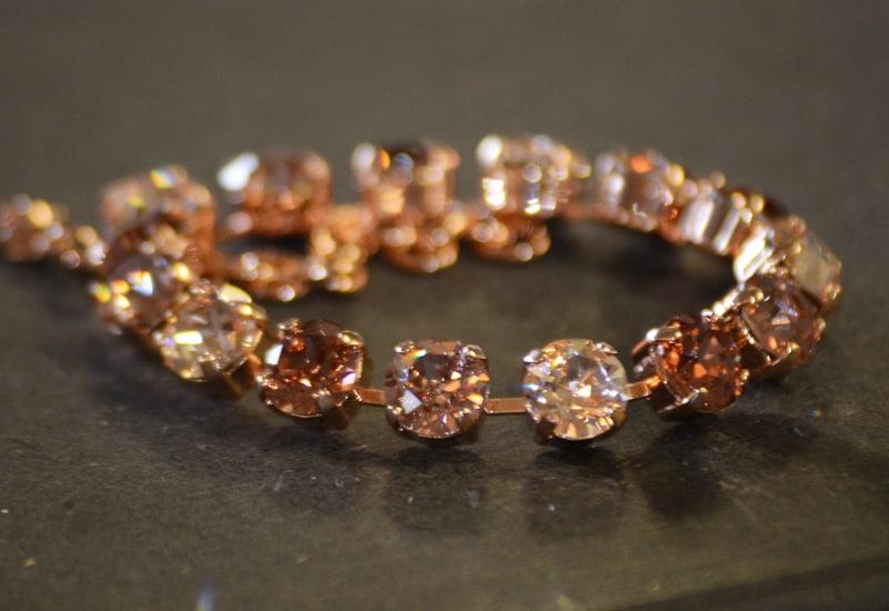 Rhinestone Bracelet - Silk/Vintage/Rose
