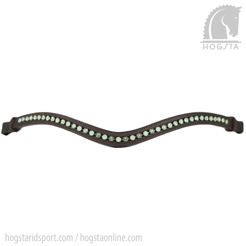 Brunt bågformat läderpannband med gröna Sw.kristaller från Otto Schumacher Hogsta Ridsport.