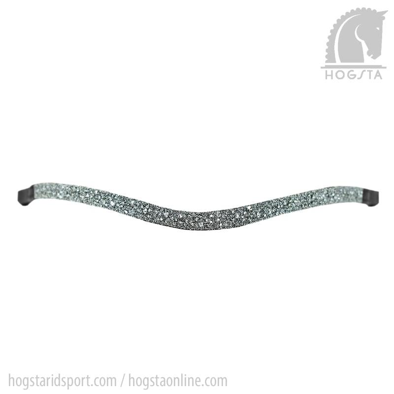 Svart läderpannband med grå stenkross från Otto Schumacher Hogsta Ridsport.