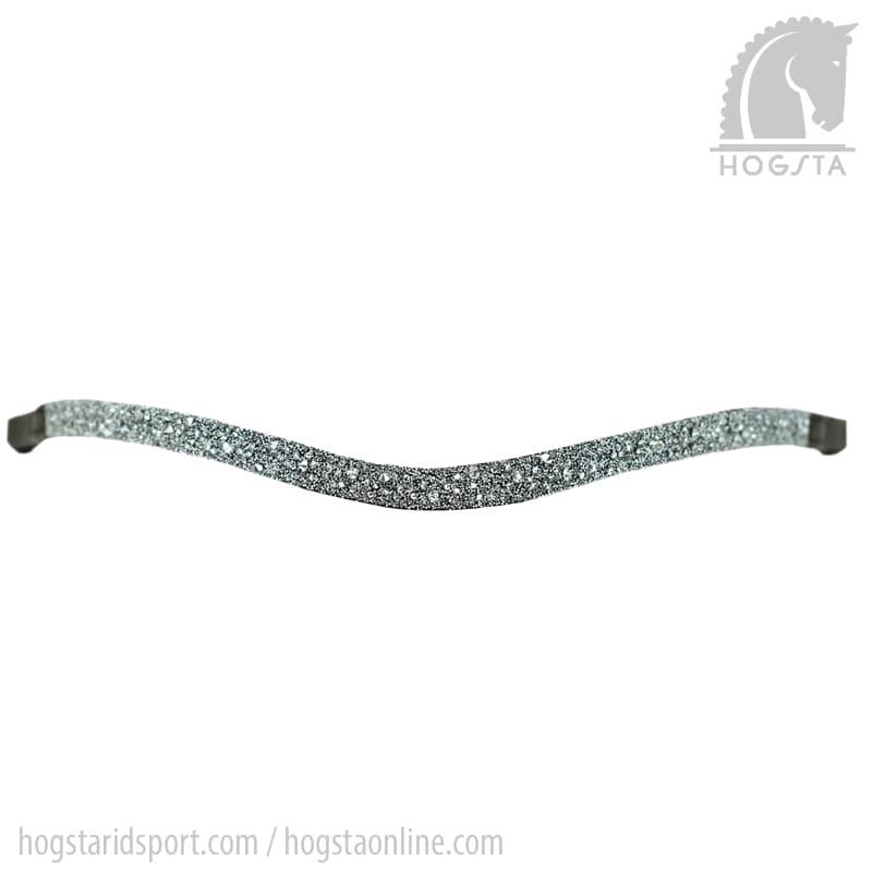 Brunt läderpannband med grå stenkross från Otto Schumacher Hogsta Ridsport.