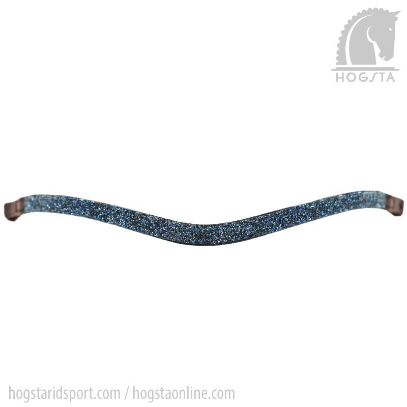 Brunt bågformat läderpannband med blå stenkross från Otto Schumacher Hogsta Ridsport.