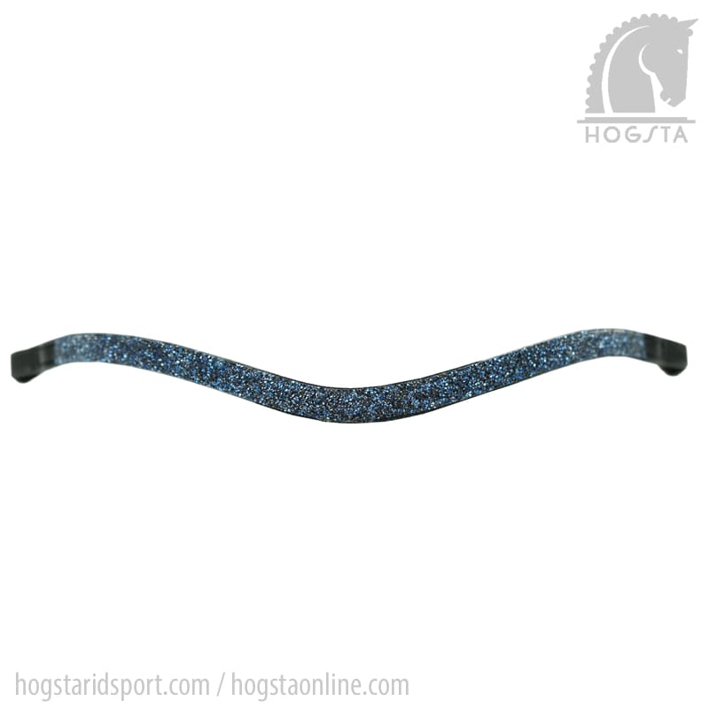Svart bågformat läderpannband med blå stenkross från Otto Schumacher Hogsta Ridsport.