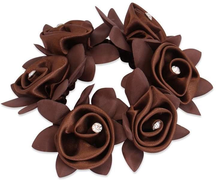 Diamond Rose Scrunchie - Brown