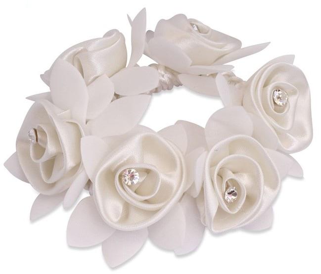 Diamond Rose Scrunchie - White