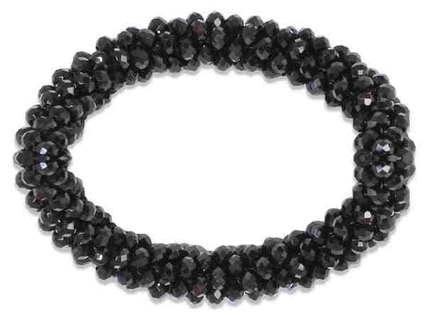 Shiny Beads Scrunchie - Jet