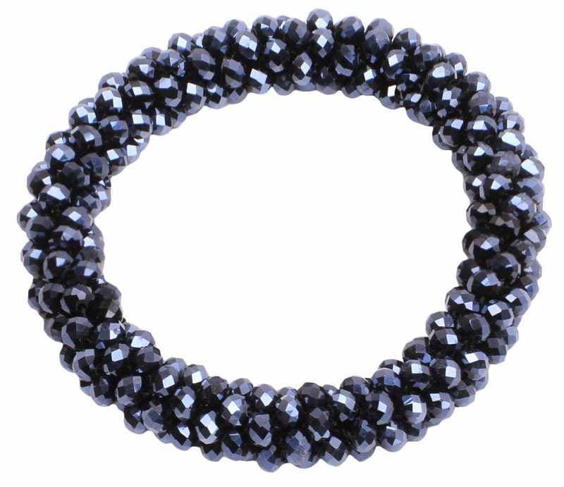 Shiny Beads Scrunchie - Navy