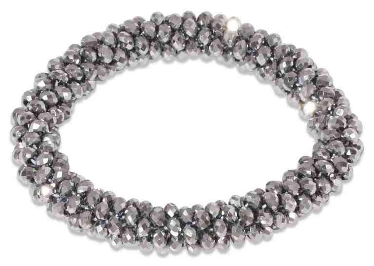 Shiny Beads Scrunchie - Silver