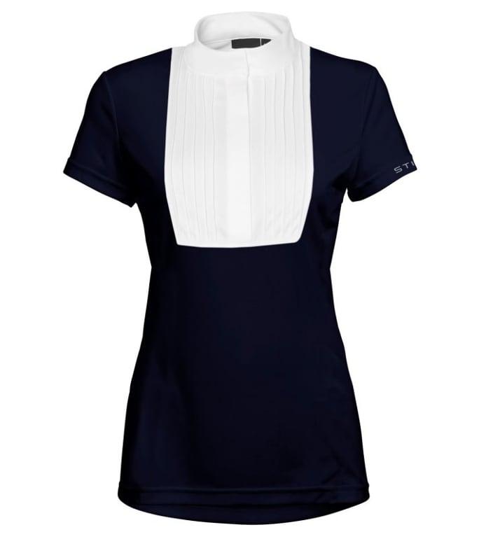 Marinblå tävlingsskjorta med vitt plisserat bröst modell Anna från Stierna Hogsta Ridsport