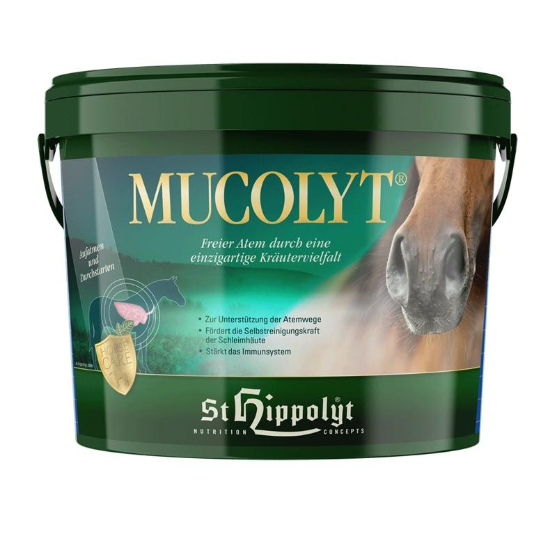 Mucolyt i 10 kg hink från St Hippolyt. Hogsta Ridsport.
