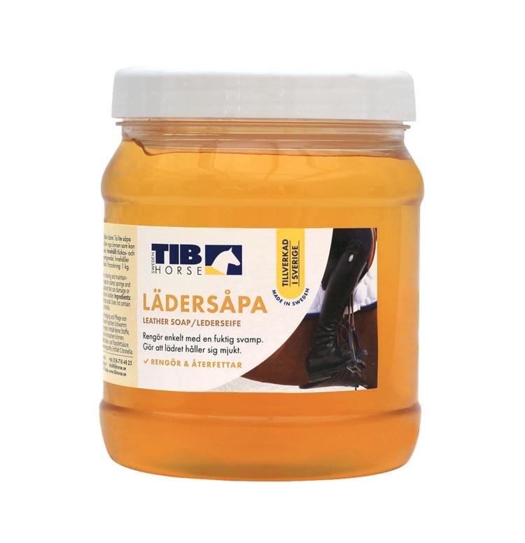 Burk med lädersåpa från TIB Horse Hogsta Ridsport.